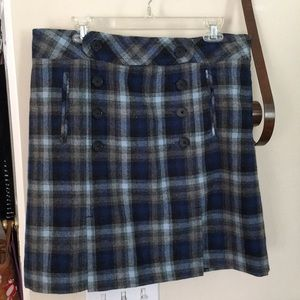 Ann Taylor Loft Blue and Gray plaid skirt size 14